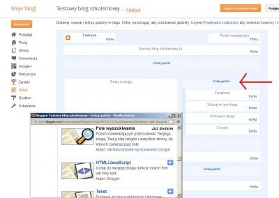 Blogger Testowy blog szkoleniowy Dodaj Gadzet Mozilla Firefox 2013 02 13 123150 400x284 Jak założyć własnego bloga   cz.2   Gadżety